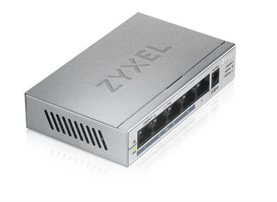 Коммутатор PoE+ Zyxel GS1005HP, 5xGE (4xPoE+), настольный, металлический, бесшумный, бюджет PoE 60 Вт