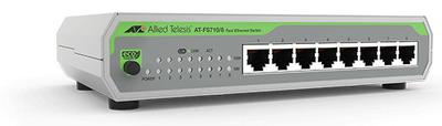 Allied Telesis 8-port 10/100TX unmanaged switch with internal PSU, EU Power Cord