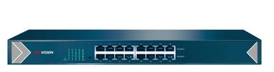 Hikvision DS-3E0516-E 16 RJ45 1000M (15й и 16й-Uplink порты); таблица MAC адресов на 8000 записей; пропускная способность 32Гб/с; AC100-240В; 0 °C...+40°C.