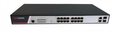 Hikvision DS-3E2318P 16 RJ45 100M PoE; 2 комбо-порта (1000М Ethernet/1000M SFP); таблица MAC адресов на 8000 записей; стандарты PoE: IEEE802.3af, IEEE802.3at; бюджет PoE 300Вт; AC100-240В; 330Вт; 0 °C