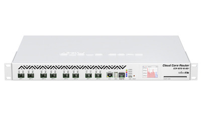 MikroTik Cloud Core Router 1072-1G-8S+ with Tilera Tile-Gx72 CPU (72-cores, 1GHz per core), 16GB RAM, 8xSFP+ cage, 1xGbit LAN, RouterOS L6, 1U rackmount case, two redundant hot plug PSU, LCD panel