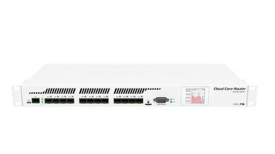 MikroTik Cloud Core Router 1016-12S-1S+ with Tilera Tile-Gx16 CPU (16-cores, 1.2Ghz per core), 2GB RAM, 12xSFP cages, 1xSFP+ cage, RouterOS L6, 1U rackmount case, Dual PSU, LCD panel , r2 version