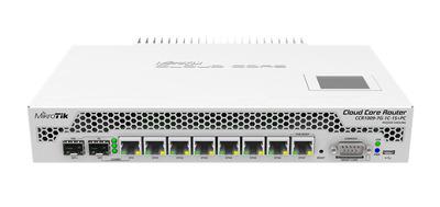 MikroTik Cloud Core Router 1009-7G-1C-1S+PC with Tilera Tile-Gx9 CPU (9-cores, 1Ghz per core), 2GB RAM, 7xGbit LAN, 1x Combo port (1xGbit LAN or SFP), 1x SFP+ cage, RouterOS L6, LCD panel, passive coo