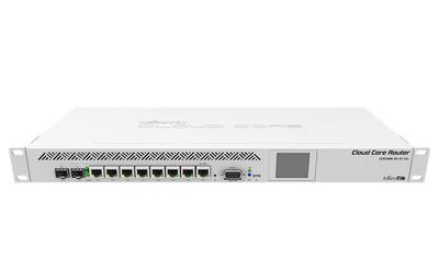 MikroTik Cloud Core Router 1009-7G-1C-1S+ with Tilera Tile-Gx9 CPU (9-cores, 1.2Ghz per core), 2GB RAM, 7xGbit LAN, 1x Combo port (1xGbit LAN or SFP), 1x SFP+ cage, RouterOS L6, 1U rackmount case, Dua