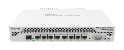 MikroTik Cloud Core Router 1009-7G-1C-PC with Tilera Tile-Gx9 CPU (9-cores, 1Ghz per core), 1GB RAM, 7xGbit LAN, 1x Combo port (1xGbit LAN or SFP), RouterOS L6, passive cooling desktop enclosure, rack