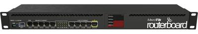 MikroTik RouterBOARD 2011UiAS with Atheros 74K MIPS CPU, 128MB RAM, 1xSFP port, 5xLAN, 5xGbit LAN, RouterOS L5, 1U rackmount case, PSU, LCD panel