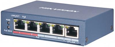 Hikvision DS-3E0105P-E(B) 4 RJ45 100M PoE с грозозащитой 6кВ, 2 порт с высоким приоритетом; 1 Uplink порт 100М Ethernet; бюджет PoE 60Вт; поддержка режима передачи до 250м,10Мб/с, CAT5e; таблица MAC а