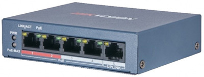 Hikvision DS-3E0105P-E/M(B) 4 RJ45 100M PoE с грозозащитой 6кВ; 1 Uplink порт 100М Ethernet: бюджет PoE 35Вт; поддерживают режим передачи до 250м; таблица MAC адресов на 1000 записей;