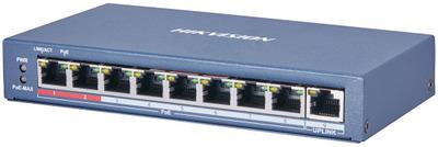 Hikvision DS-3E0109P-E(C) 9 RJ45 100M PoE с грозозащитой 6кВ, 2 порт с высоким приоритетом; 1 Uplink порт 100М Ethernet; бюджет PoE 115Вт; поддержка режима передачи до 250м,10Мб/с, CAT5e;таблица MAC а