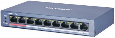 Hikvision DS-3E0109P-E/M(B) 8 RJ45 100M PoE с грозозащитой 6кВ; 1 Uplink порт 100М Ethernet: бюджет PoE 60Вт; поддерживают режим передачи до 250м; таблица MAC адресов на 2000 записей; пропускная спосо
