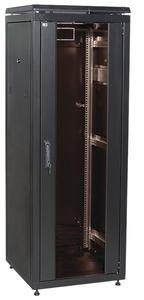 """ITK Шкаф сетевой 19"""" LINEA N 42U 600х800 мм стеклянная передняя дверь, задняя металлическая черный"""
