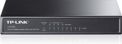 TP-Link 8-портовый 10/100 Мбит/с настольный PoE коммутатор, 8 портов RJ45 10/100 Мбит/с + 4 порта PoE, IEEE 802.3af, бюджет PoE 57 Вт, стальной корпус