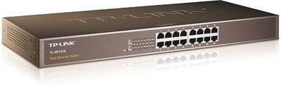 TP-Link 16-портовый 10/100 Мбит/с коммутатор, 16 портов RJ45 10/100 Мбит/с, 1U 19-дюймовый монтируемый в стойку стальной корпус