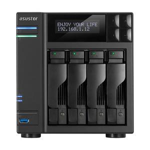 ASUSTOR AS6404T 4-Bay NAS/Media player/Intel Celeron J3455 1.5GHz, up to 2.3 GHz(Quad-Core), 8GB SO-DIMM DDR3L, noHDD(HDD,SSD),/2x1GbE(LAN)/3xUSB3.0,HDMI/4ip camera license ; 90IX0121-BW3S10