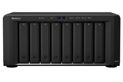 Synology DS1817 QC1,7GhzCPU/4Gb DDR3/RAID0,1,10,5,,6/upto 8hot plug HDDs SATA(3,5' or 2,5')(upto18 with 2xDX517)/2xUSB3.0/2eSATA/2GE+2х10GE RJ-45/iSCSI/2xIPcam(upto 30)/1xPS