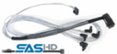 Adaptec ACK-I-rA-HDmSAS-4rASATA-SB-0.8M (2279900-R) Кабель SAS внутр., 80см., разъемы SFF8643(угловой) -to- 4*SATA(угловой)+SideBand