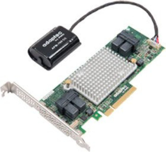 Microsemi Adaptec ASR-81605ZQ (PCI-E v3 x8, LP) SGL SAS 12G RAID 0, 1, 10, 1E, 5, 6, 50, 60, 16 ports (int 4*SFF8643),1Gb, FlashBackup, каб. Отдельно