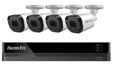 FE-104MHD KIT ДАЧА SMART: Регистратор 4-х канальный+ Камеры: 4 улич., цилиндрические 1 МР+Разветвитель питания+4 кабеля для камер по 18 м. 1 SATA до 8 TB