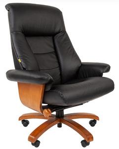 Офисное кресло Chairman 400, кожа+PU, черн N