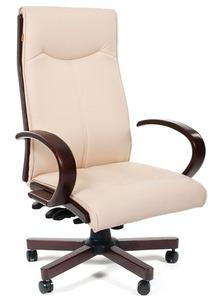 Офисное кресло Chairman 411 бежевое экопремиум, с деревянными элементами N