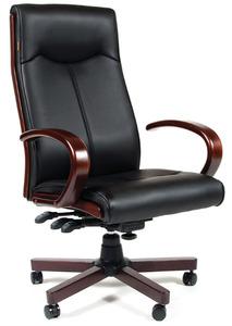 Офисное кресло Chairman 411 черное экопремиум, с деревянными элементами N