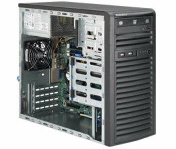 Supermicro SuperServer Mid-Tower 5039D-i CPU(1) E3-1200v5/ noHS/ no memory(4)/ on board RAID 0/1/5/10/ internalHDD(4)LFF/ 2xGE/ 3xFH/ 1x300W Gold/ no Backplane