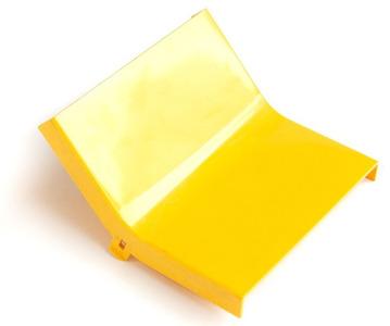 Крышка внутреннего изгиба 45° оптического лотка 120 мм, желтая