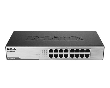 D-Link DES-1016D/H1A, L2 Unmanaged Switch with 16 10/100Base-TX ports.8K Mac address, Auto-sensing, 802.3x Flow Control, Stand-alone, Auto MDI/MDI-X for each port, D-Link Green technology, Metal case
