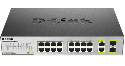 D-Link DES-1018P/A2A, L2 Unmanaged Switch with 16 10/100Base-TX ports and 2 100/1000Base-T/SFP combo-ports (8 PoE ports 802.3af (15,4 W), PoE Budget 80 W).8K Mac address, Auto-sensing, 802.3x Flow Co