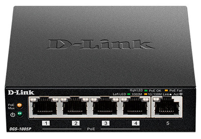 D-Link DGS-1005P/A1A, L2 Unmanaged Switch with 5 10/100/1000Base-T ports (5 PoE ports 802.3af/802.3at (30 W), PoE Budget 60).2K Mac address, Auto-sensing, 802.3x Flow Control, Stand-alone, Auto MDI/M