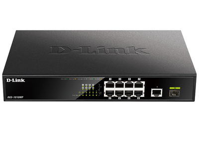 D-Link DGS-1010MP/A1A, L2 Unmanaged Switch with 9 10/100/1000Base-T ports and 1 1000Base-X SFP ports(8 PoE ports 802.3af/802.3at (30 W), PoE Budget 125 W)