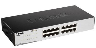 D-Link DGS-1016C/B1A , 16-port UTP 10/100/1000Mbps Auto-sensing, Stand-alone, Unmanaged